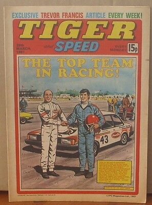 TIGER and SPEED comic 28th March 1981 Johnny Cougar Hotshot Hamish Billy's Boots