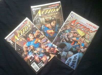 Action Comics Issue #1, #2 & #3 (2011, DC) The New 52 - FIRST PRINT/NF - Super