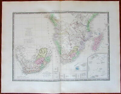 South Africa detailed Cape Natal Republics c.1875 Brue lovely large old map