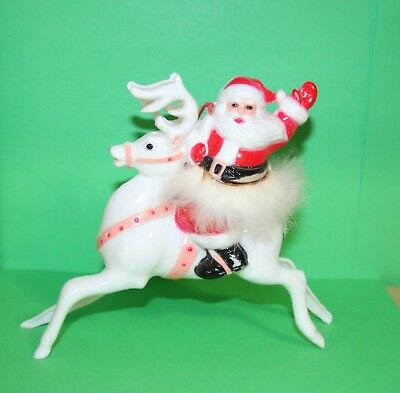 VTG HARD PLASTIC CHRISTMAS ORNAMENT SANTA on REINDEER RABBIT FUR AROUND BELT