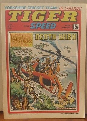 TIGER and SPEED comic 11th July 1981 Johnny Cougar Hotshot Hamish Billy's Boots