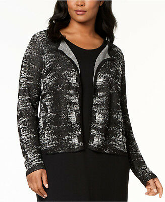 Eileen Fisher Plus Long Sleeve Cardigan Black White Womens Size 1X NWT $298