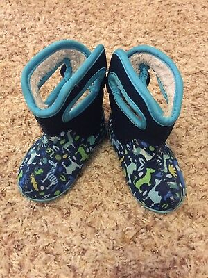 BABY BOGS Toddler Boys Blue with Animals Rain Boots Size 4