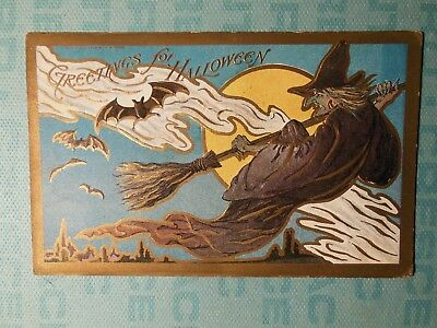 Halloween embossed greeting card, 1908, witch broom bats full moon The Rose Co.