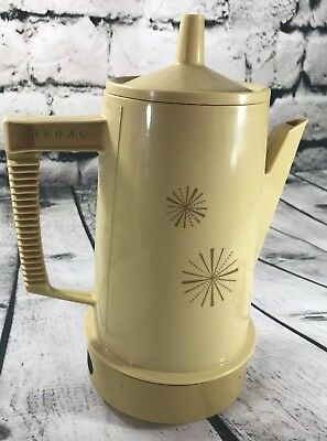 Vintage Regal Poly Perk Coffee Pot Electric Percolator Tan Starburst TESTED