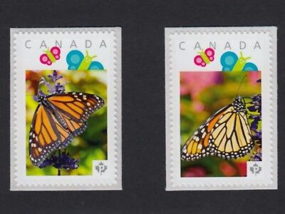 bq. MONARCH BUTTERFLY = 2 Picture Postage stamps MNH Canada 2016 [p16/01bt2