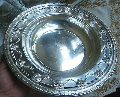 Reed & Barton..vintage Silver Plated Bowl..reticulated,baskets,swag Flowers 1938