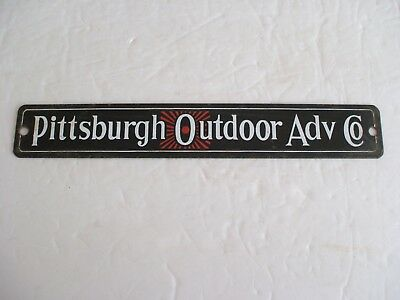 Vintage Pittsburgh Outdoor Advertising Co. Porcelain Sign 1960
