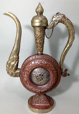 Antique/vintage embossed brass & Copper Chinese Dragon tea pot
