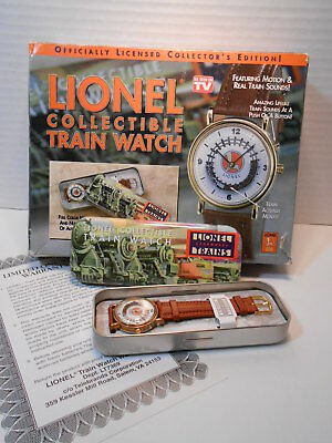 Lionel Collectible Train Watch With Rotating Train In Original Tin Case