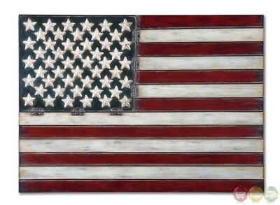 American Flag Traditional Aged Multicolored Wall Art 13480