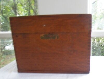 Antique Vintage Carved Wood Treasure Chest Trinket Jewelry Box Dove Tailed