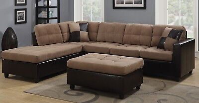 Vogue Microfiber Reversible Chaise Sectional Sofa Lounge Furniture