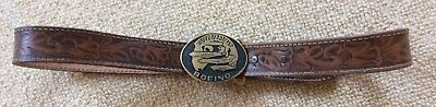 Vintage BOEING Brass Belt Buckle 707 727 737 757 On Tooled Leather Belt Medium