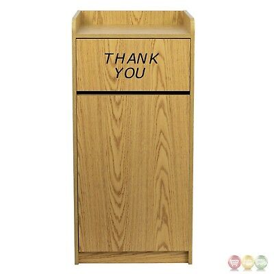 Commercial Restaurant Trash Receptacle Tray collection Top Thank You Oak Finish