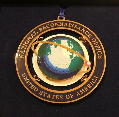 Cia Dod Nro (National Reconnaissance Office) 3-D Ornament, Gold Tone & Enamel