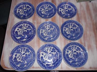 x 9 Vintage Japanese WILLOW Pattern Small Plates & Saucers
