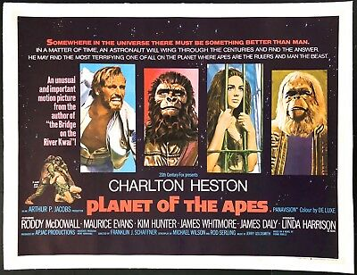 "Planet of the Apes 1968 Original Movie Poster British Quad Linen Backed 30""x40"""