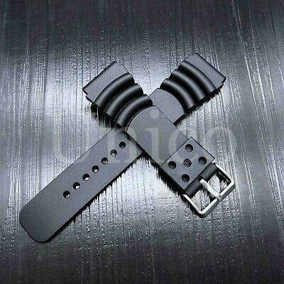 20 22 24 MM Black Silicone Rubber Watch Band Strap Fits Seiko Diver Water Black