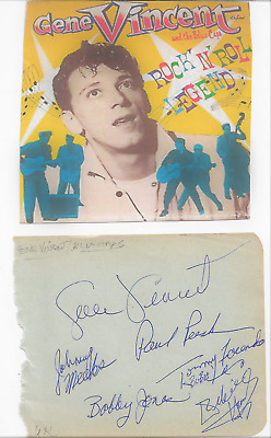 Gene Vincent And Blue Caps/ Vintage In Person Genuine Hand Signed Autographs All