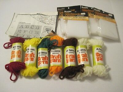 Nice Estate Lot Of Plastic Needlepoint Canvas And Yarns (7Diff Colors)Patons
