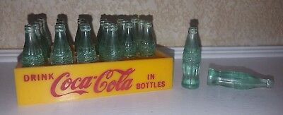 Vintage Miniature Coca-Cola Mini Coke Bottles 24 Yellow Plastic Crate Toy Truck