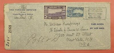 1942 Costa Rica Us Foreign Service Registered Airmail To Usa Wwii Censored