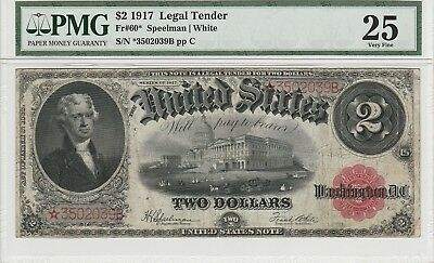 Fr. 60* $2 1917 Legal Tender Star Note PMG Very Fine 25.