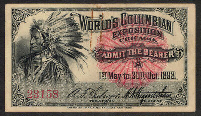 """1893 """"indian """" Columbian Exposition Ticket  125 Year Old Ticket"""