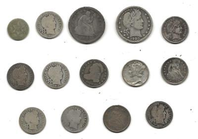 USA 1830//1929s Vintage Silver Dimes Quarters 3c Coins Classic Coin Collection