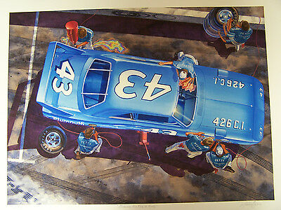 Plymouth Superbird Art Vintage Nascar 500 Racing 43 Richard Petty 1970 Pit Stop