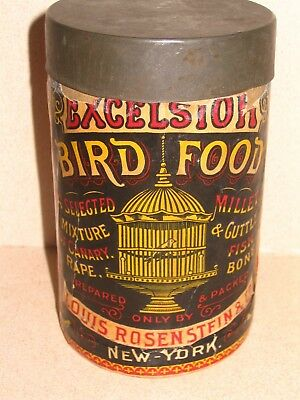 Early Victorian Era Excelsior Brand Bird Food Seed Tin Louis Rosenstein Co NY