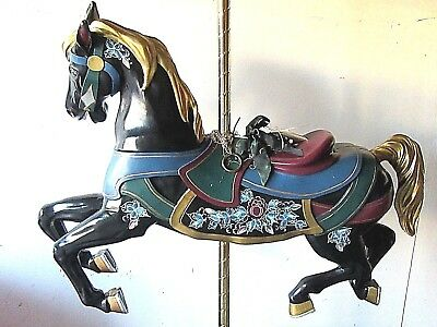 Vintage Brass Ring Collection Numbered Carousel Horse Hand Painted On Brass Pole