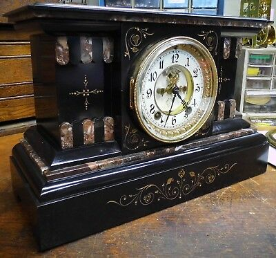 Antique Ansonia Marble Mantle Clock – Open Escapement – Runs – 8 Day Time/Strike