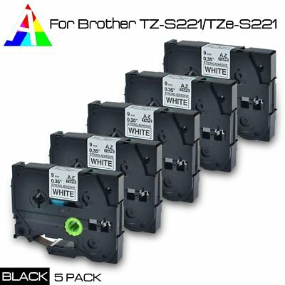 5pk TZ-S221/TZe-S221 P-Touch Compatible for Brother Black on white Tape 9mm