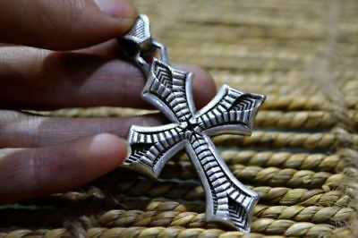 Collectible Rare USA Sterling 925 Silver Handwork Crucifix Amulet Old Pendant