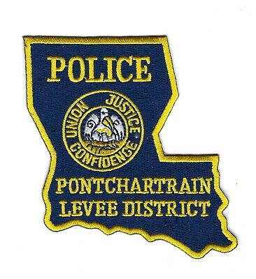 Pontchartrain LA Louisiana Levee District Police patch - NEW! *STATE SHAPED*
