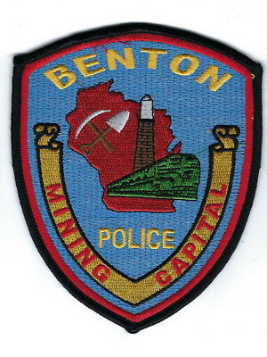 "Benton (Lafayette Co) WI Wisconsin Police ""Mining Capital"" patch NEW *Clothback*"