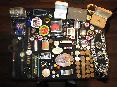 Junk Drawer Lot estate sale old coins watches vtg sterling jewelry old marbles