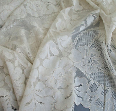 "Vintage French ALENCON LACE Tablecloth Needlelace FLOWERS Medallions 98"" X 68"""