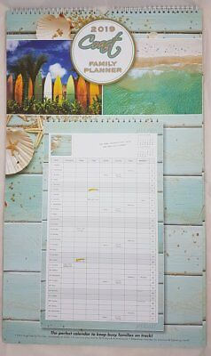 Coast 2019 Wiro Large Family Planner/Wall Calendar, 63x36.5cm, by OzCorp, Postag