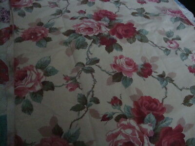 Vintage Fabric Cotton Two Panels Pink Roses Design