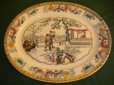 Antique Ironstone Platter in Chinese Pattern  Ashworth Brothers England Pristine