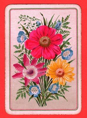 1 Single ANTIQUE OLD ENGLISH WIDE Playing Card BUNCH COLOURFUL FLOWERS  #41
