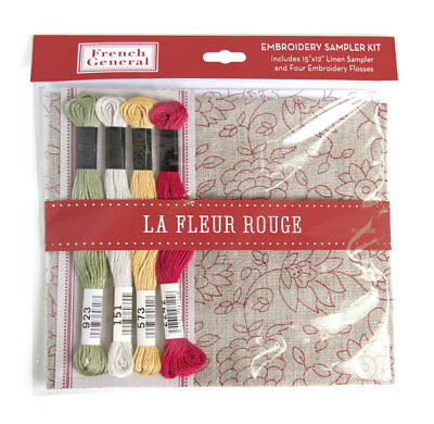 EMBROIDERY KIT ~ LA VIE EN ROUGE - LA FLEUR ROUGE ~ by French General