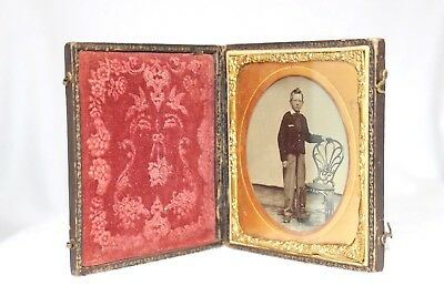 Union Case Style  1/6 Plate Ambrotype  Preteen Male - Antique