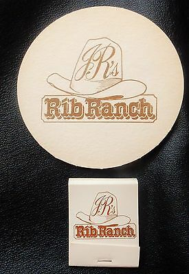 JR's RIB RANCH LAUNCESTON Beer COASTER & MATCHES Match Book Box Matchbook c1989