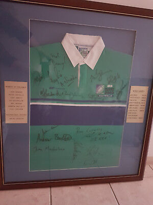 Framed IRB 2003 World Cup Jersey SIGNED by Former Rugby Greats Size M