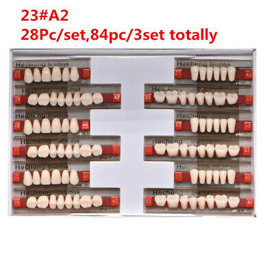 84Pcs/Box Dental Synthetic Polymer Resin Denture Teeth 23 A2 Upper + Lower