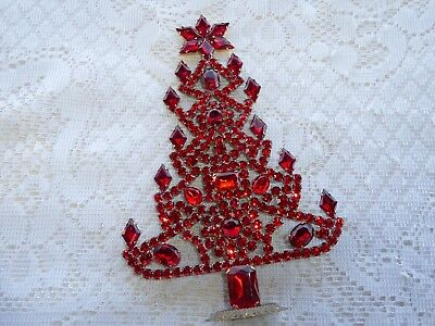 Amazing Vintage Red Czech Rhinestone Christmas Tree Standing